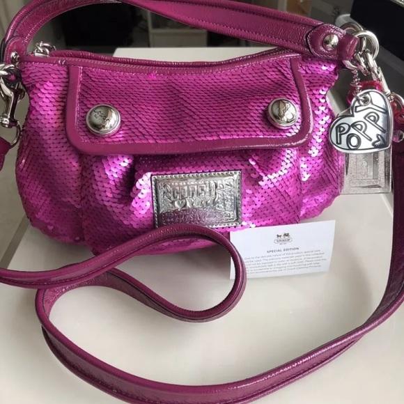 131566ae23 Coach Handbags - COACH Pink Poppy 16482 Ltd. Ed. Sequins Bag